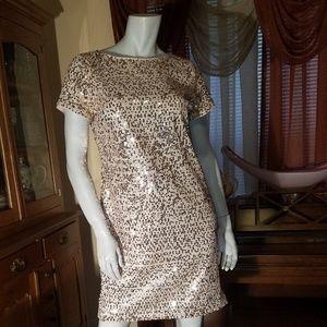 Vince Camuto short-sleeve mini sequin shift dress